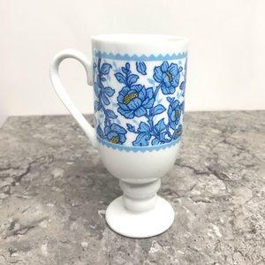 Vintage Blue Floral Cup Goblet Ceramic